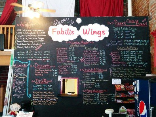 Fabilis Pizza & Wings: Menu board