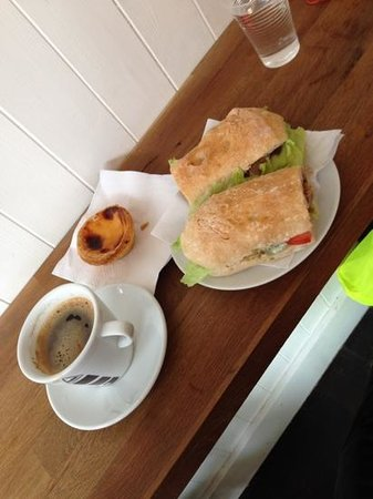 Norfolk Street Bakery: Hot roast pork on a delicious ciabatta roll with a coffee and the best Portuguese custard tart