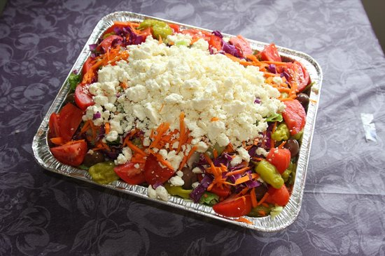 Nicky D's Pizza: Geek Salad....half pan for a meeting anyone