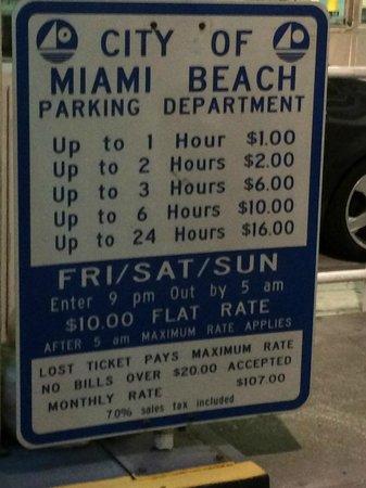 Loews Miami Beach Hotel: Preços do estacionamento na 16 Street