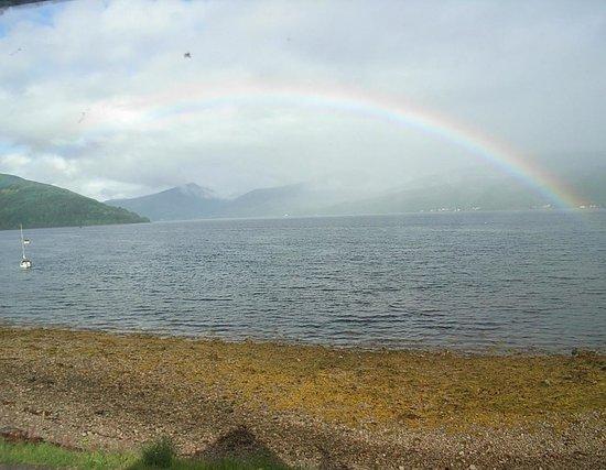 Newton Hall Guest House: Rainbow across Loch Fyne Inveraray