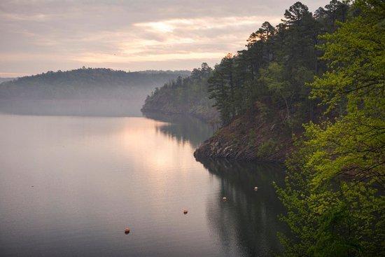 Idabel, OK: Morning sun over Broken Bow Lake