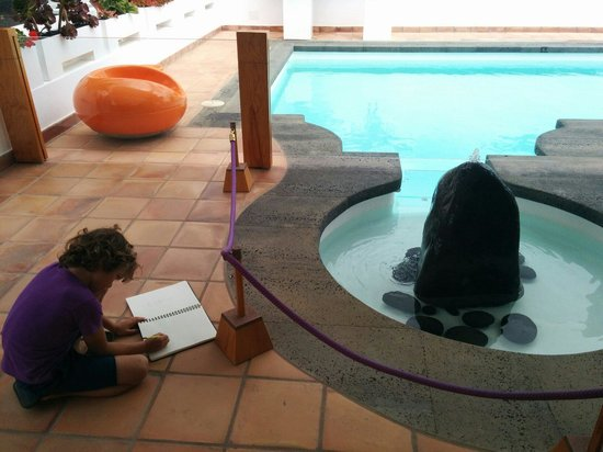 Casa / Museo Cesar Manrique: My artist son drawing by the pool at César Manrique house. Very cool experience.