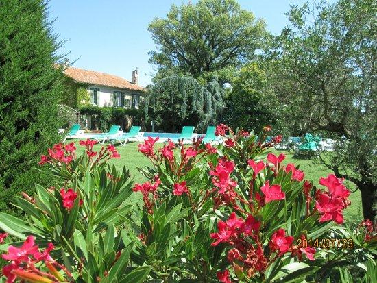 Hotel du Moulin d'Aure : piscine dans jardin