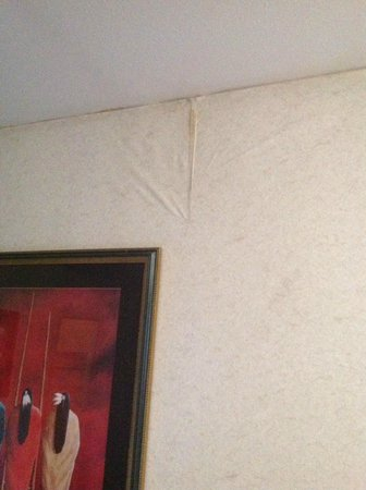 Hotel Don Fernando de Taos: multiple places where wallpaper was dirty and peeling