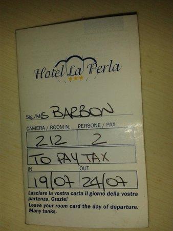 Hotel La Perla: Camera 212