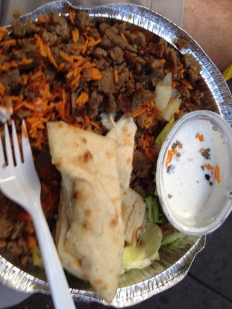 The Halal Guys: Gyro and rice with garlic sauce.