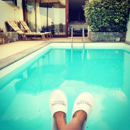 Amirandes, Grecotel Exclusive Resort : Личный бассейн в номере с видом на море и тренажерным залом
