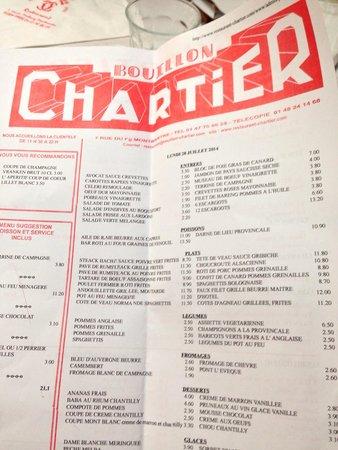 Le Bouillon Chartier : Menù