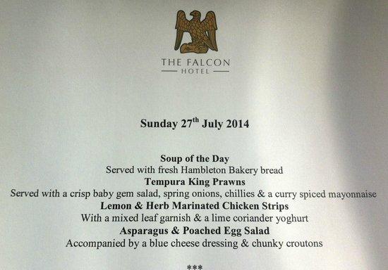 menus falcon