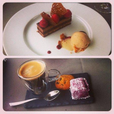 Les Jardins du Moulin : Feuillantine chocolat aux framboises d'Alsace et sa glace au spéculos  Café et se mignardises co