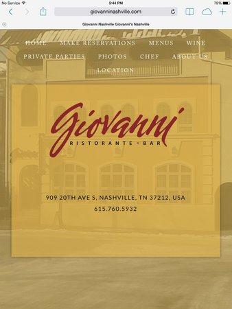 Giovanni Ristorante: website