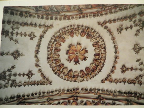 Museum and Crypt of Capuchins: Ceiling detail, using vertabrae