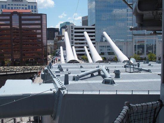 Battleship Wisconsin: Forward 16 inch gun turrets