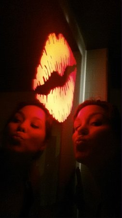ACME Hotel Company Chicago: Super cute glowing lips nightlight in the bathroom mirror.