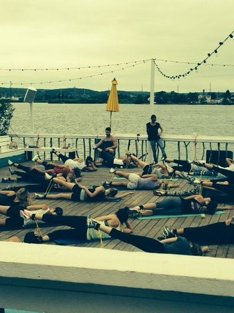 The Surf Lodge: Morning Fitness Classes on the deck