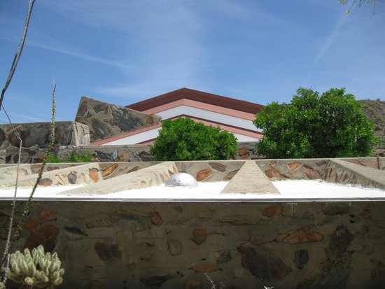 Taliesin West: The Wright-designed concrete and boulders walls.