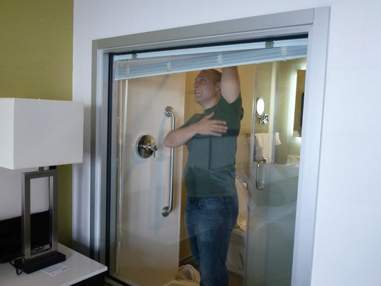 The Hollis Halifax - a DoubleTree Suites by Hilton: glass wall into the bathroom...