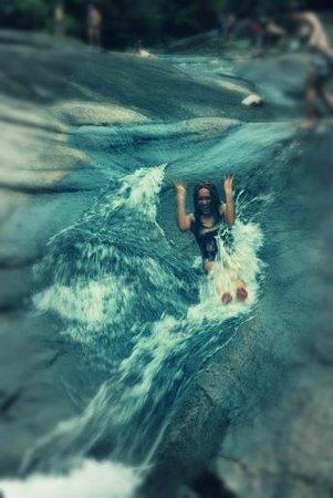 Telaga Tujuh Waterfalls: slide