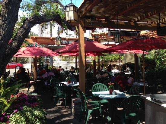 Outdoor Patio At Cedar Creek Inn. View Across To Historic Mission San Juan