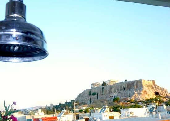 The Athens Gate Hotel: View of the Acropolis from our shower! Dreamy!