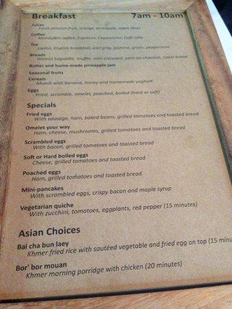 The Pavilion : Breakfast menu