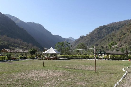 Himalayan Bear Stream Camp: The camp has a volleyball court an ideal way to finish the day!
