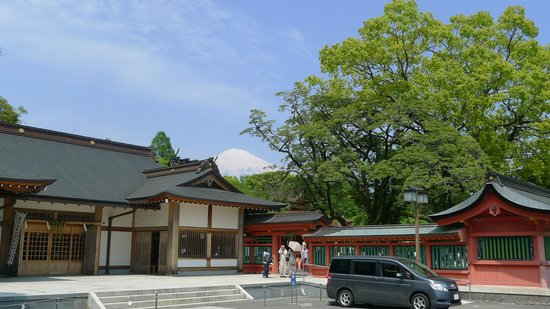 Fujisan Hongu Sengen Taisha Shrine : Sengen Taisha Shrine with fuji mountain