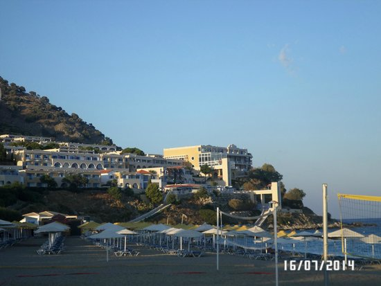 Mitsis Family Village Beach Hotel: View of complex from the private beach