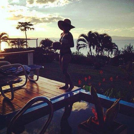 Makaira Resort: Sunset coconut drinks on our deck