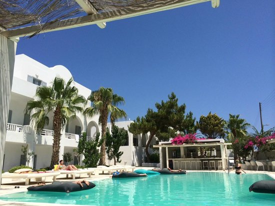 Hotel 28: View of the pool and bar from a shady sun lounger. Bliss. Taken with an iPhone