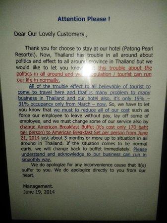 Patong Pearl Resortel : Buffet breakfast advisory