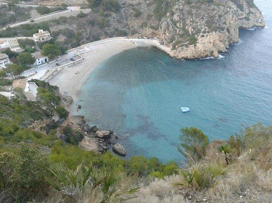 Playa La Granadella: View down on Granadella cove, Javea