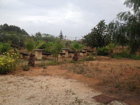 Camping Lilybeo Village: I tavoli in pietra e legno vicini al barbecue