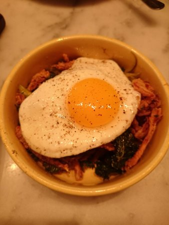 The Purple Pig : Pig's ear with crispy kale, pickled cherry peppers & fried egg