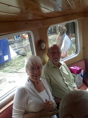 Skipton Boat Trips: My Dad and Mum on the canal boat.