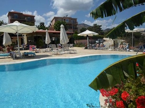 Pelagos Apartments Skala: The two apartment blocks from the pool