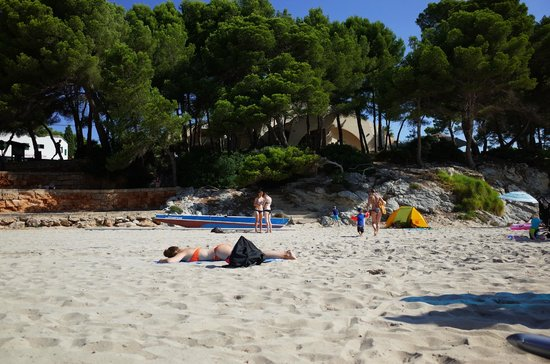 Iberostar Pinos Park: Strand Links - Blick zum Hotel