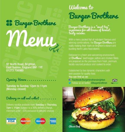 Burger Brothers : Menu cover (July 2014)