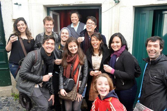 Lisbon Chill-Out Free Tour: Our Brazilian group drinking the Ginja