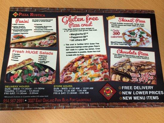 Pizza Rustica: Gluten Free Menu