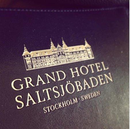 Grand Hotel Saltsjöbaden: Logotype on folder at hotel room