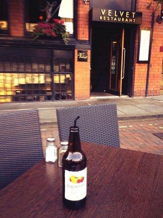 Sat outside eating al fresco at Velvet, Manchester