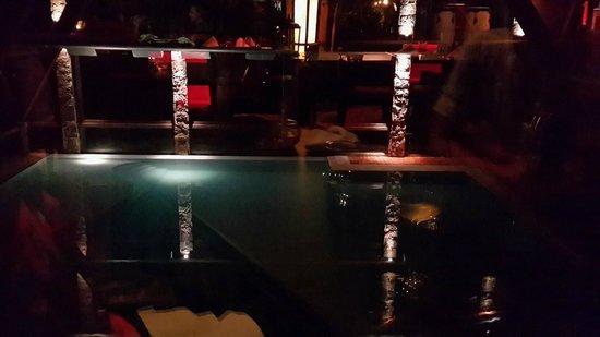 Posada Los Alamos: Pileta climatizada de noche vista desde el bar
