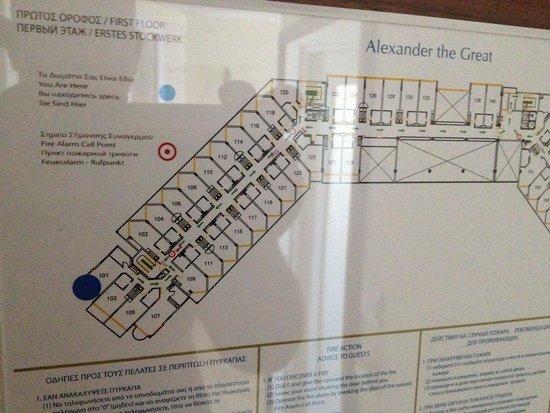 Alexander The Great Beach Hotel: Kamers 1ste verdieping, erg lawaaierige verdieping