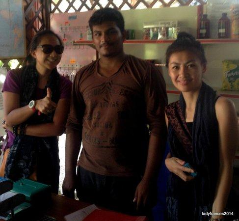 Rainbow Lodge: With Kumar, the kind staff who assisted us