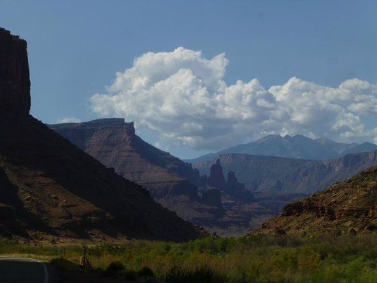 Scenic Byway of Highway 128: Mountains start appearing as you drive south