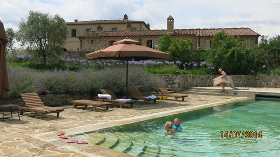 Rosewood Castiglion Del Bosco: View of villa, pool house and pool