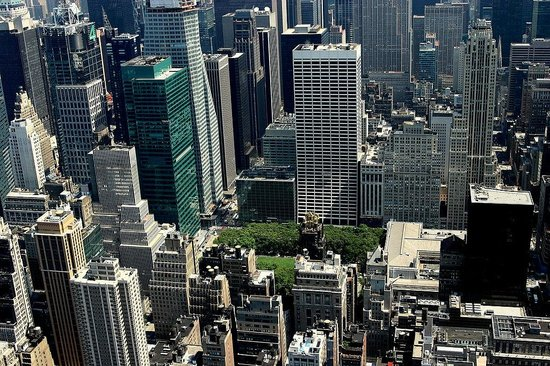 The Bryant Park seen from the heights of the buildings