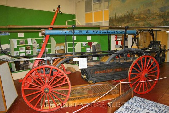 Pimeria Alta Museum: Original horse-drawn firefighting equipment from the Nogales Fire Department, on display at the